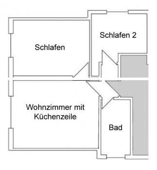 Grundriss Wohnung 1. Stock links